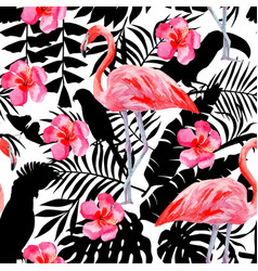 Flamingo and hibiscus watercolor pattern parrots vector