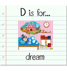 Flashcard letter D is for dream vector image