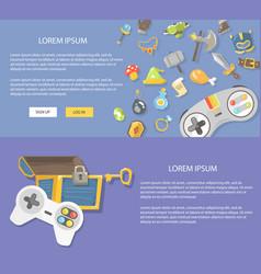 Flat design gaming concepts web vector