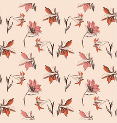floral seamless pattern small lily design vector image