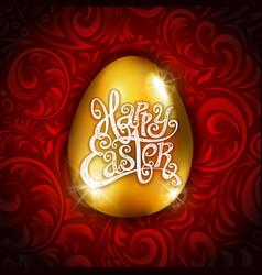 Gold foil happy easter greeting golden egg card vector