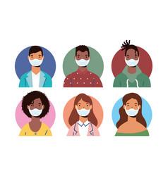 Group diversity people wearing medical masks vector