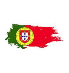 Grunge brush stroke with portugal national flag vector