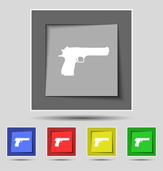 Gun icon sign on original five colored buttons vector