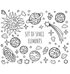 Hand drawn space cosmic elements collection set vector