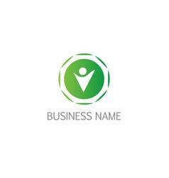 happy man success round logo vector image
