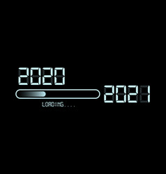 happy new year 2020 with loading to up 2021 neon vector image
