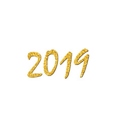 Happy new year gold number 2019 bright golden vector