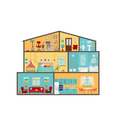 House model from inside detailed interiors vector