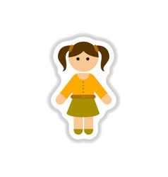 In paper sticker style little vector