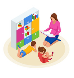 isometric family reading book for children mother vector image