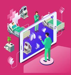Isometric telemedicine online medicine vector