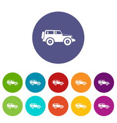 jeep set icons vector image