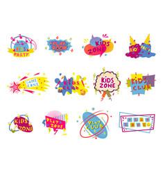 Kid club art class or playroom badge label set vector