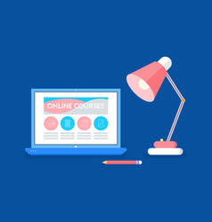 Laptop with online courses and lamp with pencil vector