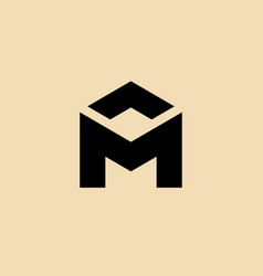 letter m house icon design template elements vector image