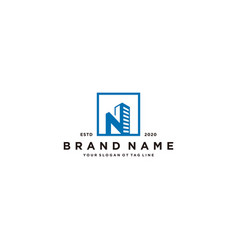 Letter n and building logo design vector