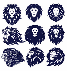 lion logo set collection design vector image