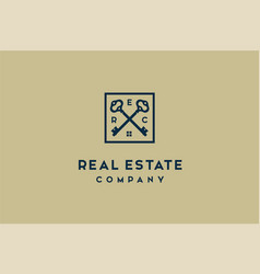 luxury crossed skeleton key house estate rologo vector image