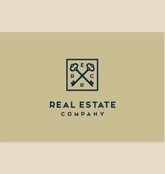 luxury crossed skeleton key house estate roof logo vector image