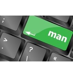 Man words on computer pc keyboard keys Keyboard vector