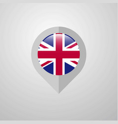 map navigation pointer with united kingdom flag vector image