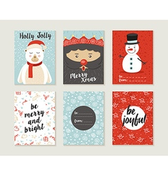 Merry christmas card set pattern retro cute bear vector image