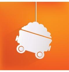 Mining coal cart icon vector image
