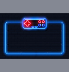 Neon game background square shape with joystick vector
