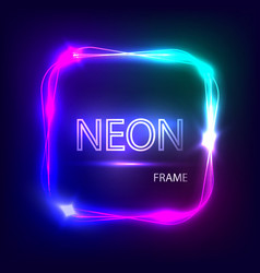 Neon square glowing frame Light banner vector image