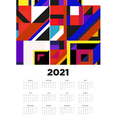 New year 2021 calendar design with colorful vector