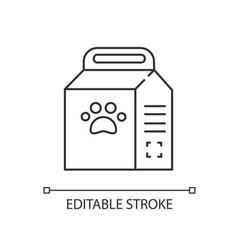 Pet food bag linear icon vector