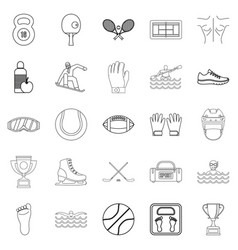 professional athlete icons set outline style vector image