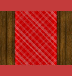 red tablecloth is on a wooden table vector image
