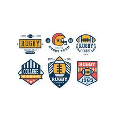 rugcollege team logo design set vintage sport vector image