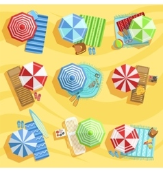 Sandy Beach From Above With Umbrellas And Sunbeds vector
