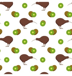 Seamless pattern with kiwi birds and kiwi fruits vector image
