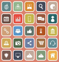SEO flat icons on orange background vector image