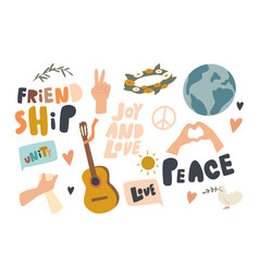 set icons friendship international day vector image