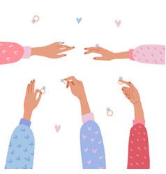 set isolated elegant female hands holding vector image