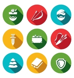 Set of Forestry justice Icons Archer Bow vector