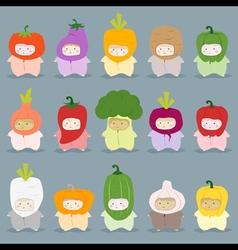 Set of kids in cute vegetable costumes vector