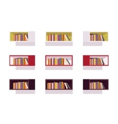 Set of retro rectangle bookshelves vector image