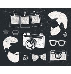 set of vintage styled design hipster stuff vector image