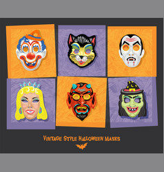 set vintage style halloween masks vector image