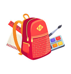 Side view on kids backpack and paints with brush vector