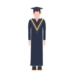 Silhouette man with graduation outfit vector