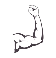 silhouette of muscular arm right vector image