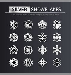 silver snowflakes icons set vector image