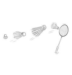 Simple black sketch badminton racket and fast vector